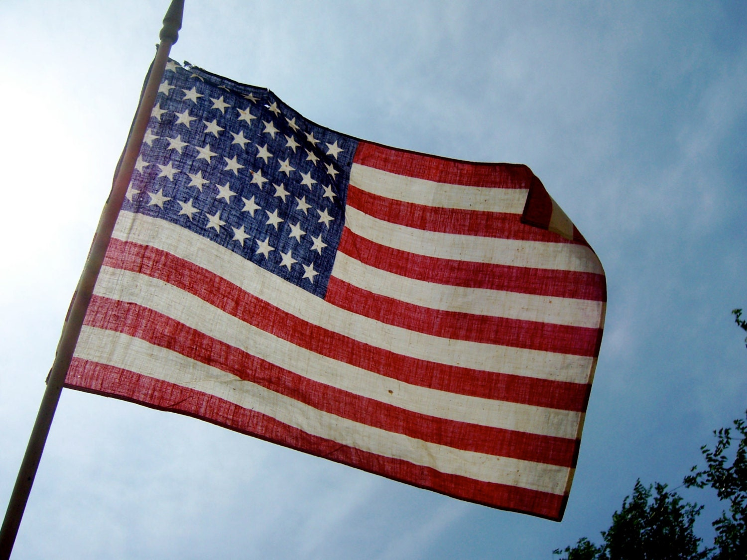 Antique 48 Star American Flag On 33 Inch Wood By