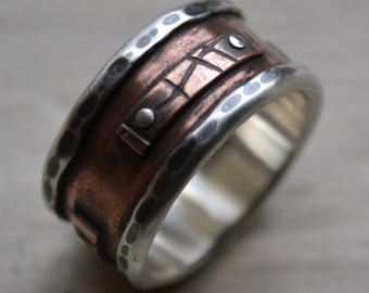mens wide band ring - rustic fine silver and copper oxidized - handmade artisan designed men's wedding ring - silver rivets - customized