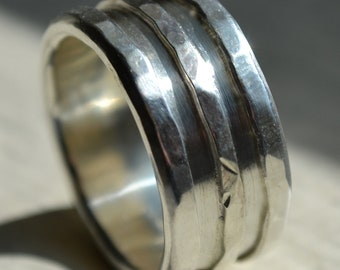 mens wedding band - rustic fine silver and sterling silver ring - handmade artisan designed wedding or engagement band - customized