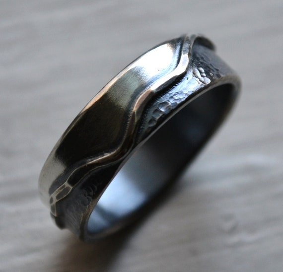 mens wedding band - handmade artisan designed oxidized sterling silver wedding or engagement band - mountains - mountain ring - customized