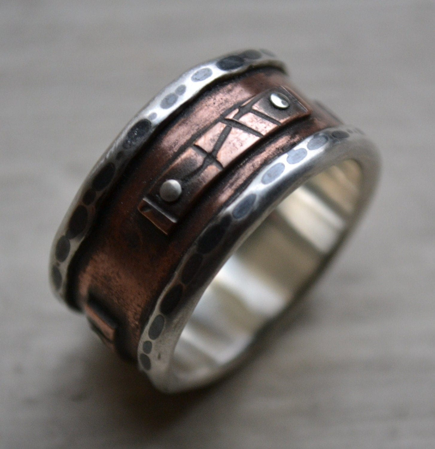 Mens wide band ring rustic fine silver and copper oxidized for Mens copper wedding rings