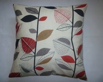 """22"""" BIG Red Gray Floral Pillow Designer Cotton Cushion Cover Pillowcases Shams Slips"""