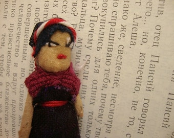 Guatemalan Worry Doll Brooch Pin - Trouble Doll Badge - Red Dress