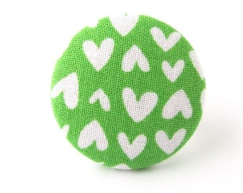 SALE Valentine's day gift - Large heart ring - green button ring - big fabric ring - women ring - funky jewelry white love - birthday gift