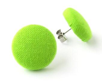 Neon green earrings - solid green stud earrings - green button earrings - fabric earrings - bright green lime chartreuse apple kiwi