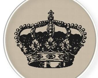 Instant download,Free shipping,Cross stitch pattern, Crossstitch PDF/JPEG,vintage crown pattern, cross stitch pillow pattern,zxxc0287