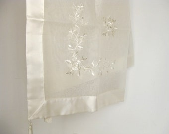 """linens 34""""x34"""" organza with elaborate embroidery in gold colours tablecloth for celebrations and special occasions dressed up tables fancy"""
