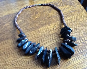Vintage Round Wooden and Polished Stone Beaded Necklace With Safety Screw Clasp
