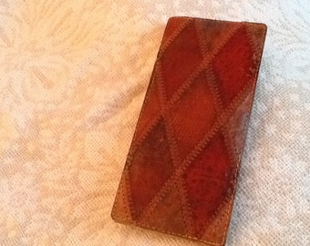 Vintage Stitched Leather Folder Folio in Diamond Pattern Felt Lined VERY OLD