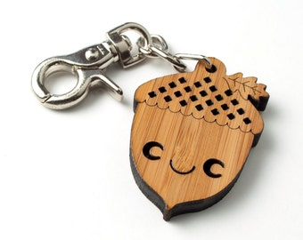 Acorn Bag Charm: Bamboo Purse Charm Key Fob Wood Acorn