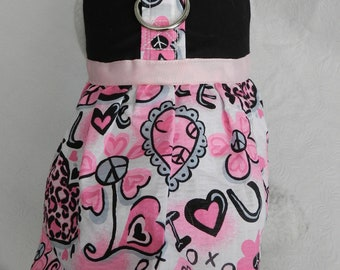 Pink & Black PUNK Leopard Print Peace Sign Harness. Perfect Item for your Cat, Dog or Ferret. all Items are custom made For Your PET.