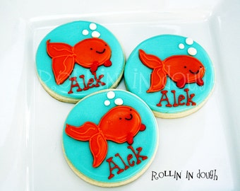 Goldfish Cookies, Fish Cookies, Goldfish Cookie Favors, Fish Cookie Favors, Decorated Fish Cookies - 1 Dozen