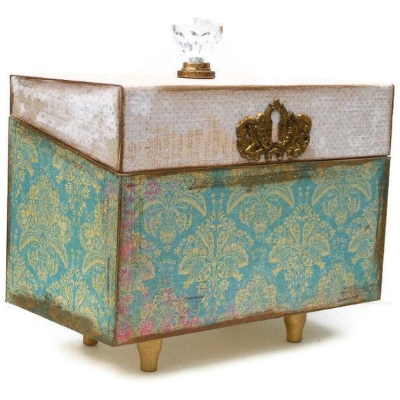 Decorative Recipe Box 2: Wooden Recipe Card Box Decorative Keepsake Box By