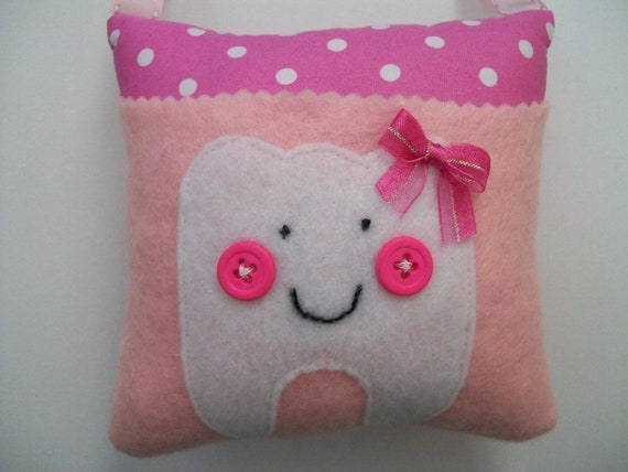 Polka Dots Tooth Fairy Pillow Girls Pink & White