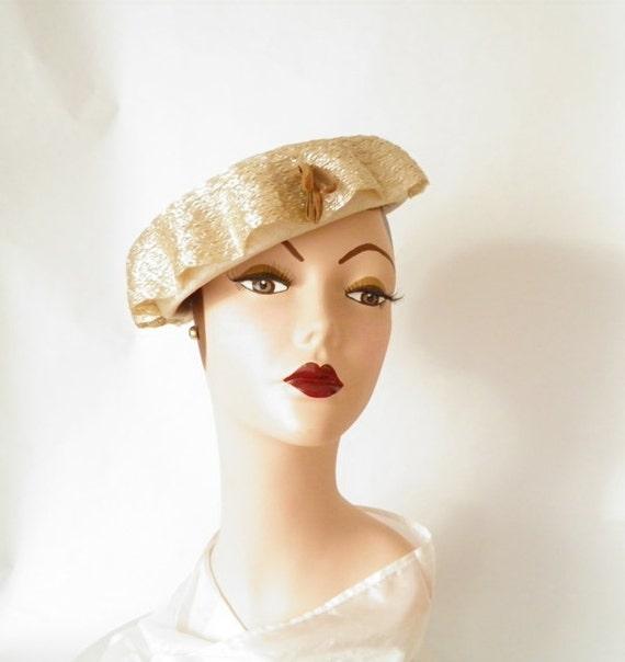 Vintage 1950s toque hat, mushroom toque