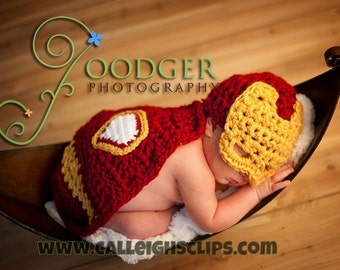 Instant Download Crochet Pattern - No. 63 -Man of Iron - Cuddle Critter Cape Set  - Newborn Photography Prop