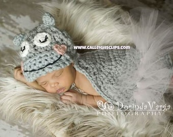 Cuddle Critter Cape Set - Hippo- Newborn Photography Prop - boy or girl version