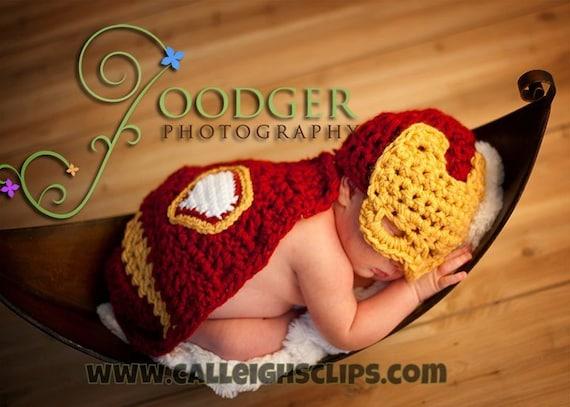 Instant Download Crochet Pattern - No. 63 -Man of Iron - Cuddle Critter Cape Set  - Newborn Photography Prop
