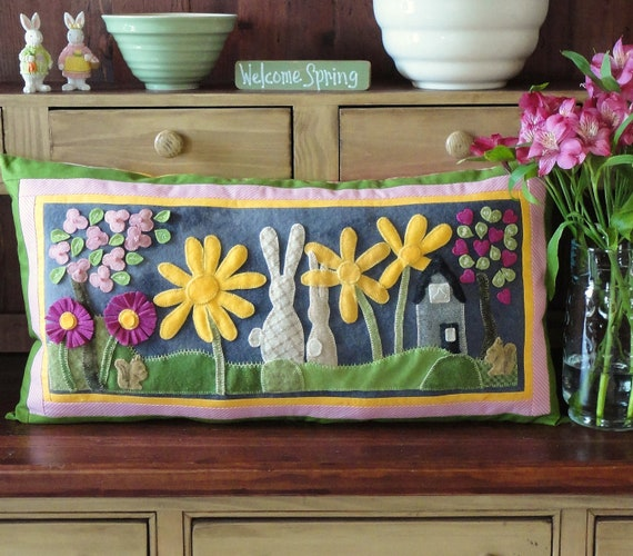 Spring, An Embroidery Pattern for a Large Wool Pillow