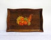 Thanksgiving Serving Tray - Cornucopia Wooden Tray