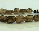 Awsome hammered smoky quartz square beads 11-13mm 1/2 strand
