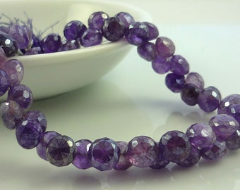 Stunning mystic pearl amethyst faceted onion briolettes 5-6mm set of 6