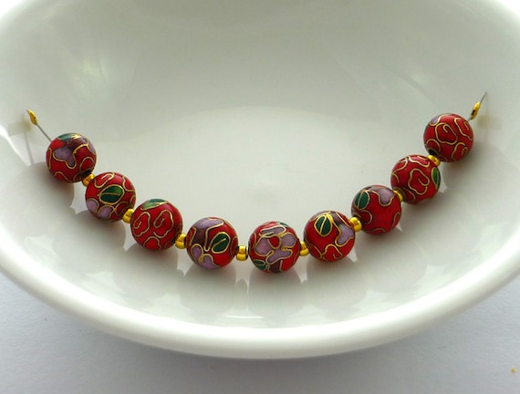 Beautiful high quality  red cloisonne beads 8mm