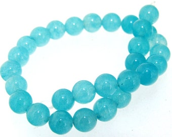 Charm 30Beads Round Sea Blue Jade 6mm Gemstone Beads 7.5""