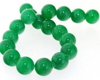 """Charm 19Beads Round Green Jade 10mm Gemstone Beads 7.5"""""""