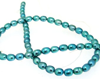 Green Rice Freshwater Cultured Pearl Gemstone Beads Strand 5mm