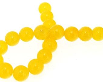 """Charm 19Beads Round Yellow Jade 10mm Gemstone Beads 7.5"""""""