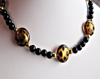 Leopard Spotted & Black Glass Beaded Necklace Handmade