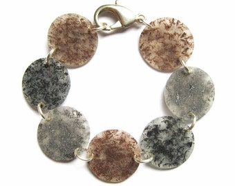 bracelet - earth tones - hand painted texture - shrinky dink jewelry - lightweight plastic