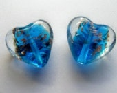 2 Lampwork Puffed Heart Beads - Blue Glass with Copper Foil - 20mm Pendant Beads
