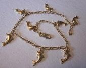 Vintage Gold Tone Dolphin Charm Ankle Bracelet