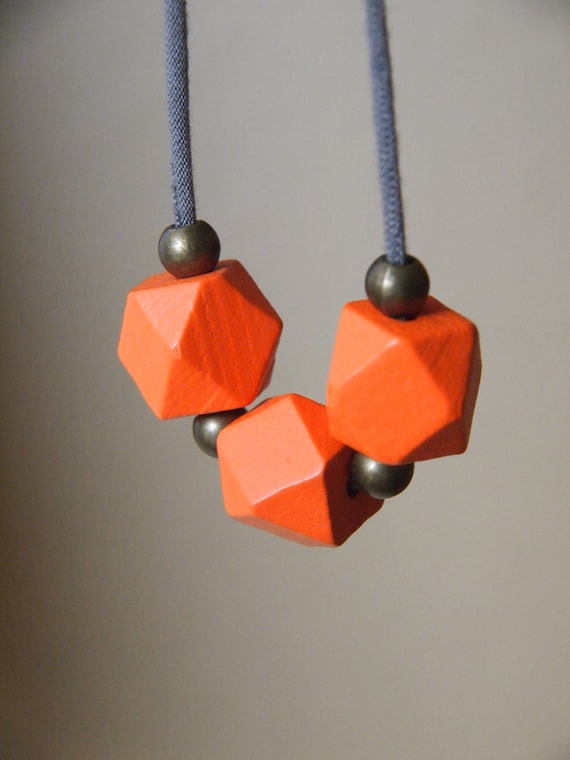minimalist tangerine orange necklace // geometric // modern // polygon // wood