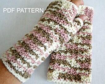 PDF PATTERN for Crochet Fingerless Wrist Warmer  in Neapolitan