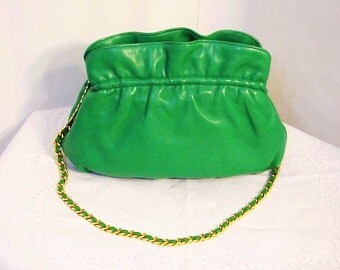SALE!! Bernard Nerson PARIS for Neiman Marcus/ Green Leather Handbag/ Purse/ Chain Strap/ Made in France