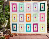 Modern Lap Quilt or Throw Floating Colors 15 - ready to ship