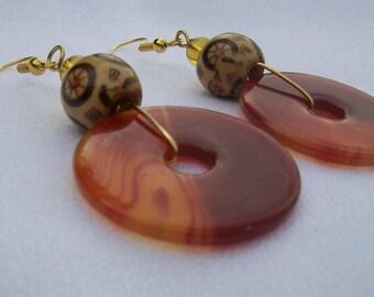 Carnelian and Hand Painted Wood Earrings