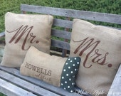 Custom Family Throw Pillow Cover - Eco Friendly, Wedding Gift, Handmade from a Recycled Coffee Sack