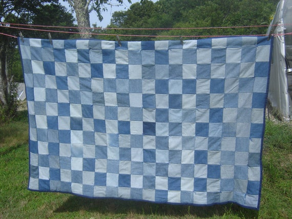 Denim Quilt Upcycled From Jeans