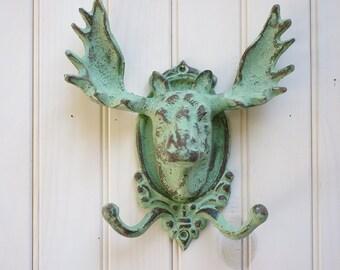 Home Decor Cast Iron Moose Double Wall Hook - Ocean Green Patina