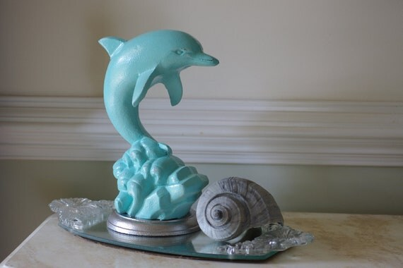 Beach Decor Cast Iron Jumping Dolphin Figurine - Aqua and Silver - FREE SHIPPING in US