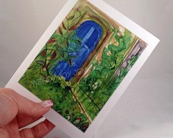 Blank Notecard - Blue Door - Artwork 4 Card Set