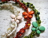 SALE - Chunky Braided Butterfly Necklace in Ivory, Green or Orange