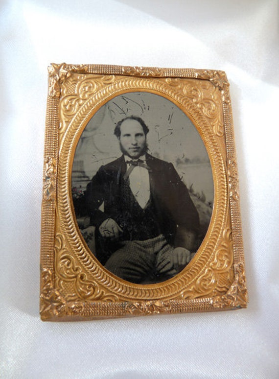 Ambrotype Photograph Victorian Gentleman Embossed Frame