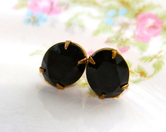 Vintage Jet Black Oval Gold Brass Rhinestone Post Earrings - Wedding, Bridesmaids, Holiday