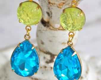 Aqua Blue Turquoise Swarovski Vintage Gold Brass Rhinestone Pear Tear Drop Dangle Earrings - Wedding, Bridesmaids, Tropical Summer