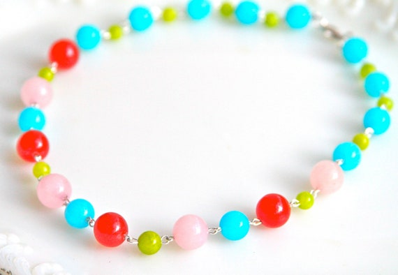 Red Lime Green Aqua Blue Pink Glass Jade Beads One of a kind Multicolor  Bridesmaids Statement Necklace